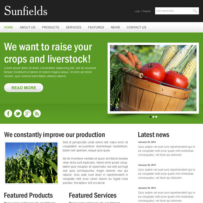agriculture crops clean and creative html website template Agriculture example