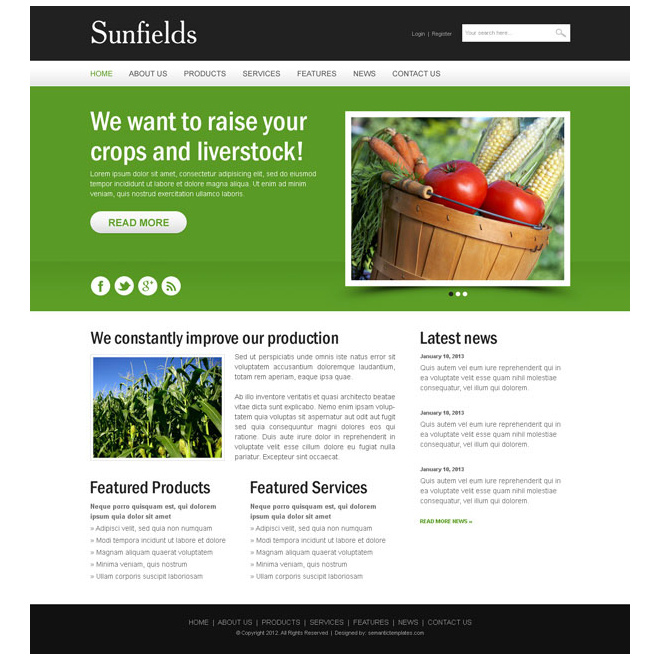 agriculture crops website design psd Website Template PSD example
