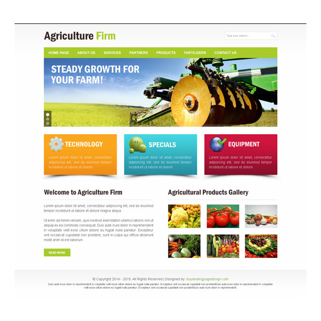 Agriculture firm clean website template PSD design Website Template PSD example