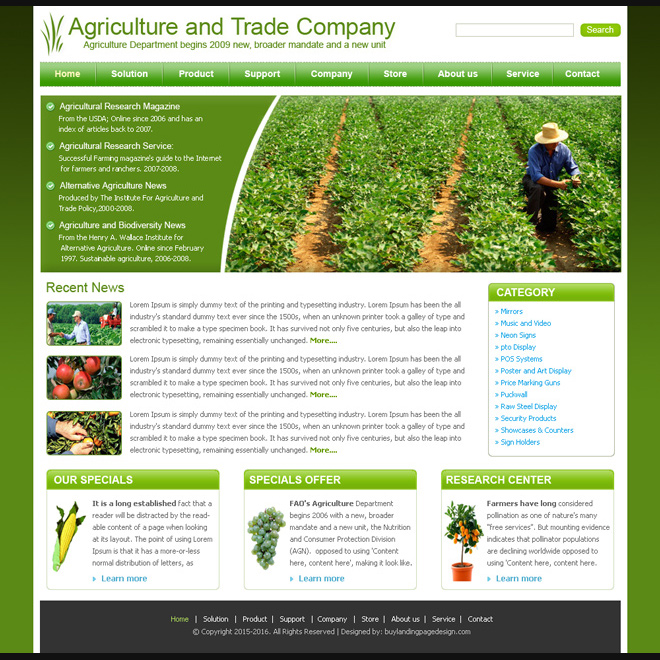 agriculture template design psd for sale Website Template PSD example