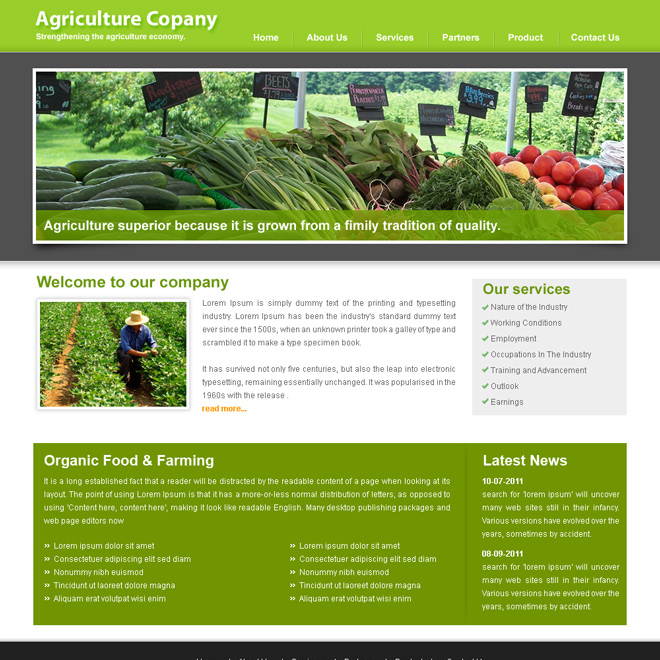 agriculture website template design PSD for sale Website Template PSD example