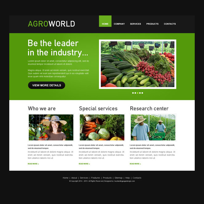 agroworld clean website template psd for agriculture company Website Template PSD example