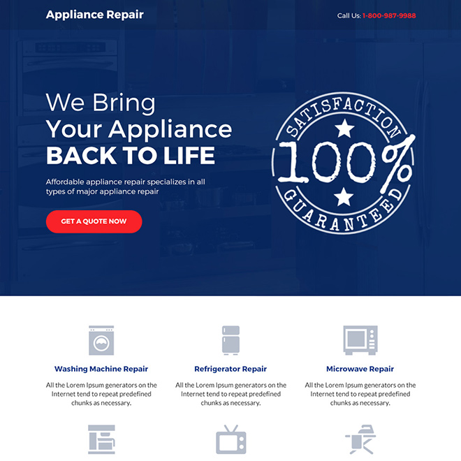 affordable appliance repair service bootstrap landing page Appliance Repair example