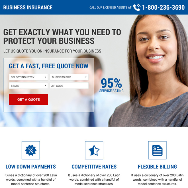 business insurance mini landing page design template Business Insurance example