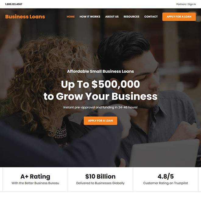 affordable small business loan responsive website design Business Loan example