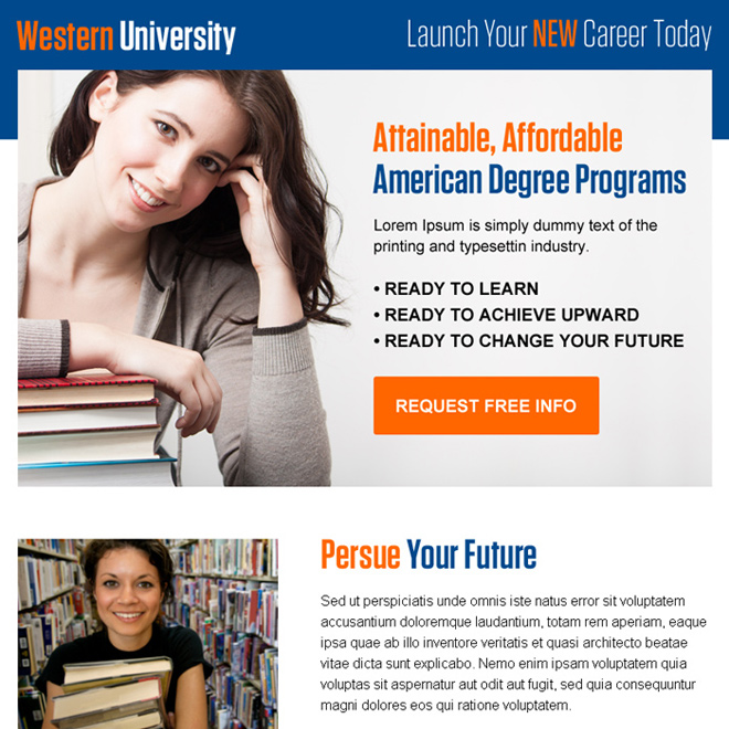 american degree program info ppv landing page design Education example