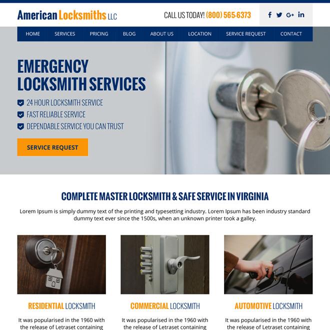 emergency locksmith services minimal website design Locksmith example