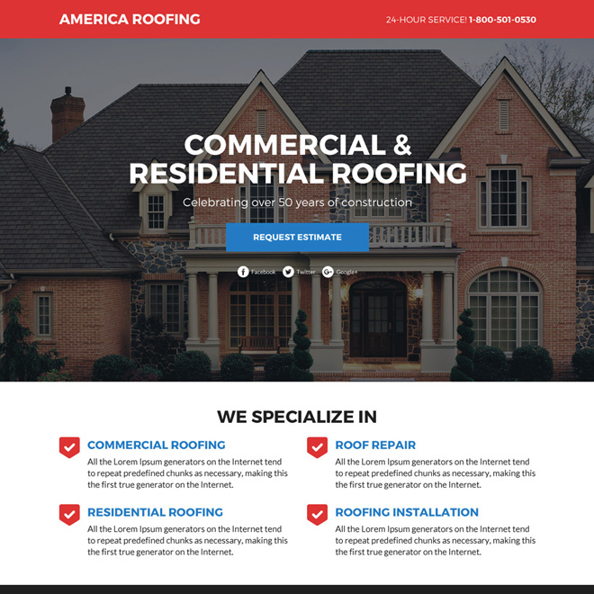 commercial and residential roofing services funnel landing page design Roofing example