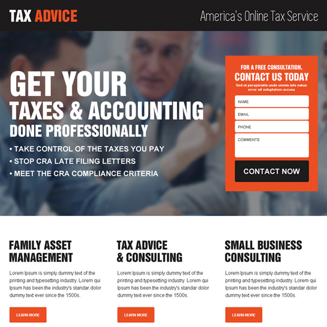 tax and accounting small lead capture landing page design Tax example
