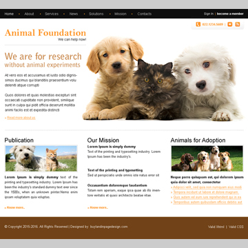 animal foundation clean website template design psd for sale Website Template PSD example