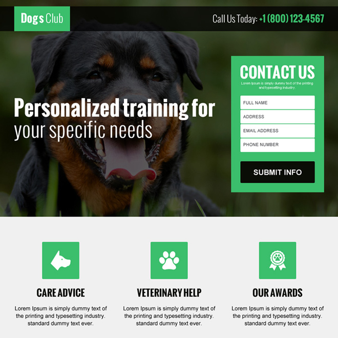 animals and pets club lead gen landing page design Animals and Pets example