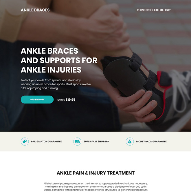 ankle brace product responsive landing page design Medical example