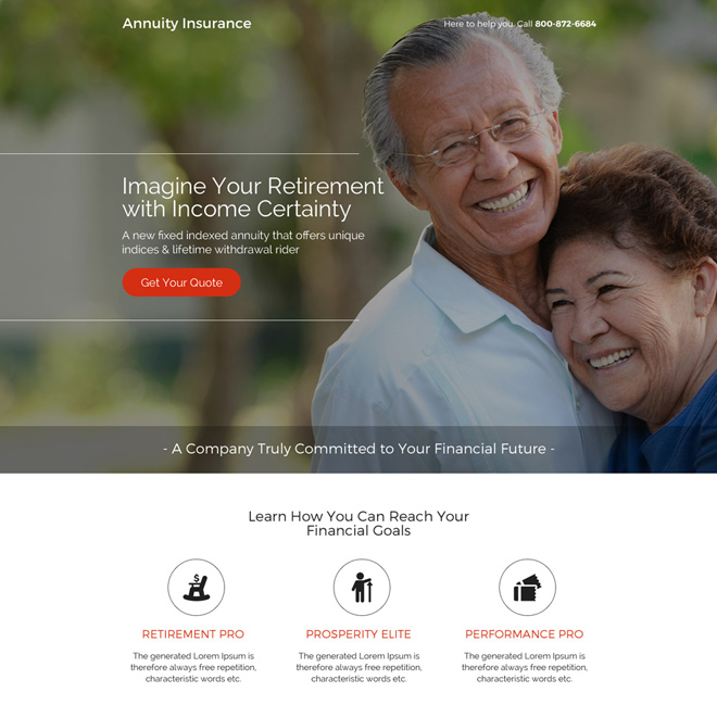 modern and professional annuity insurance landing page design Retirement Planning example
