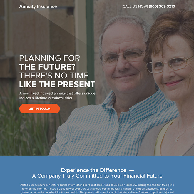 annuity insurance planning bootstrap landing page Retirement Planning example