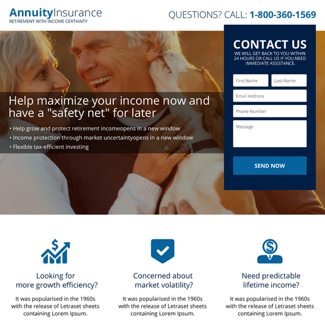 annuity insurance plans landing page design Retirement Planning example