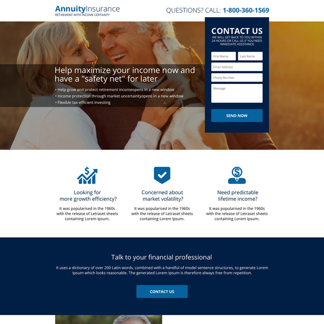 responsive annuity insurance plans landing page design Retirement planning example