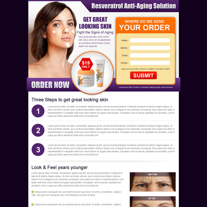 anti ageing skin care product converting html landing page design template Skin Care example