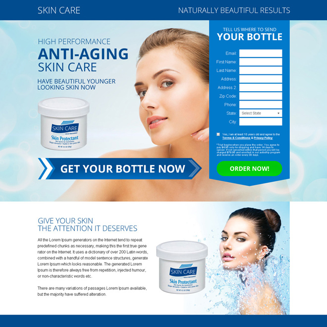anti aging skin care bank page design Skin Care example