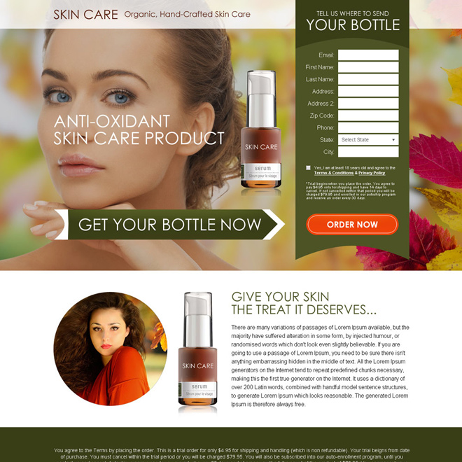 anti oxidant skin care bank page design Bank Page example