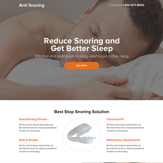 anti snoring mini responsive landing page design Anti Snoring example