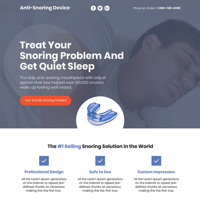 anti snoring device selling responsive sales funnel design Anti Snoring example