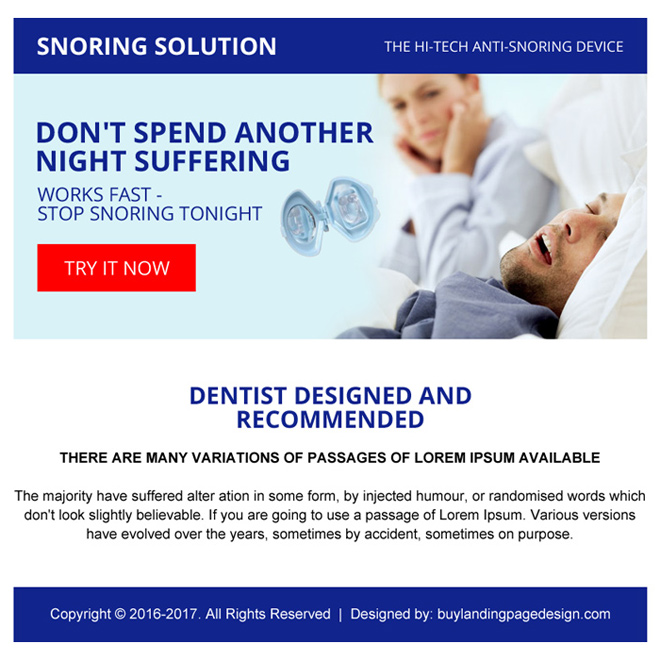 anti snoring device selling ppv landing page design Anti Snoring example