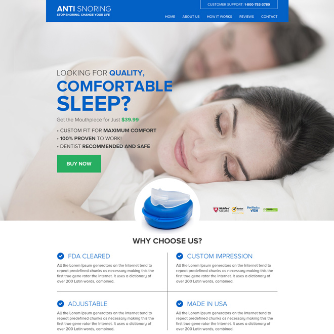 anti snoring mouthpiece selling responsive website design Anti Snoring example