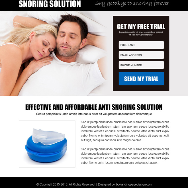 anti snoring product free trial lead gen ppv landing page design Anti Snoring example