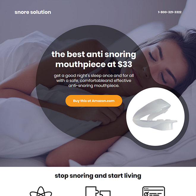 anti snoring mouthpiece selling responsive call to action landing page design Anti Snoring example