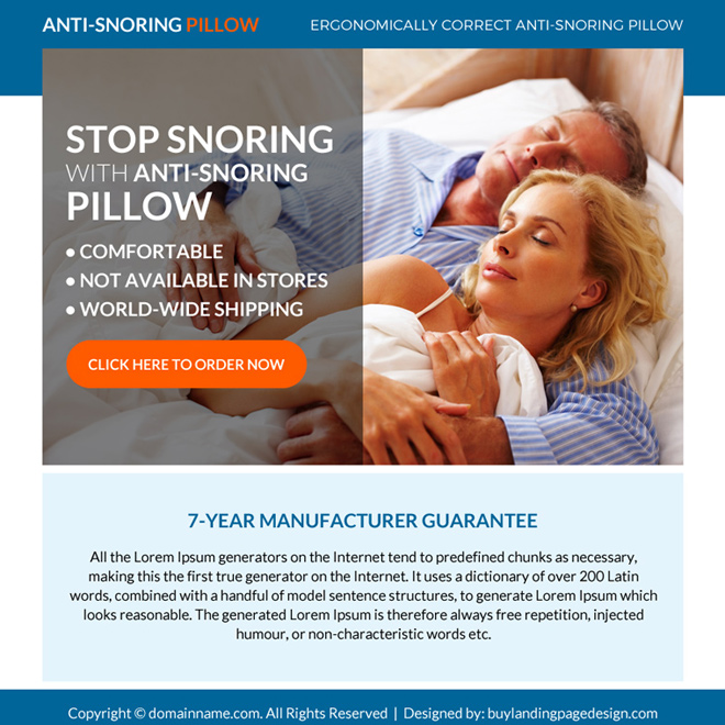 anti snoring pillow selling ppv landing page design Anti Snoring example