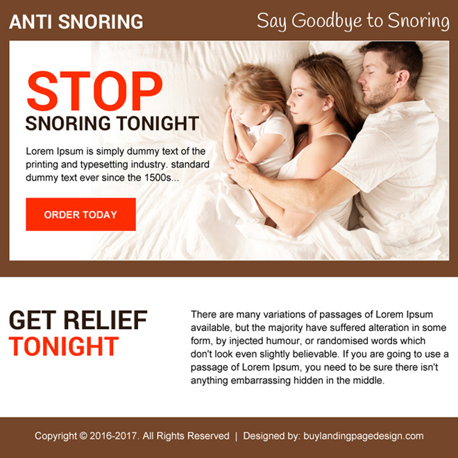 anti snoring best converting ppv landing page design Anti Snoring example