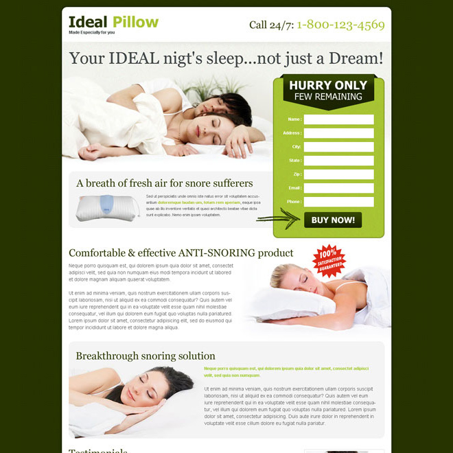 anti snoring pillow lead capture landing page design to boost your traffic and sale Anti Snoring example