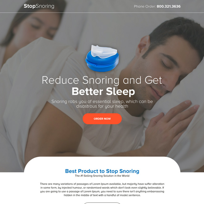 anti snoring mouthpiece selling bootstrap landing page Anti Snoring example