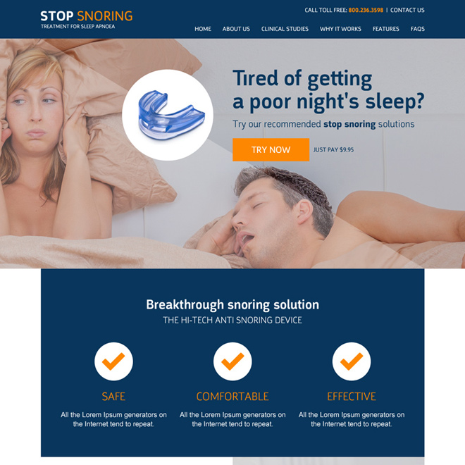anti snoring responsive website template design Anti Snoring example