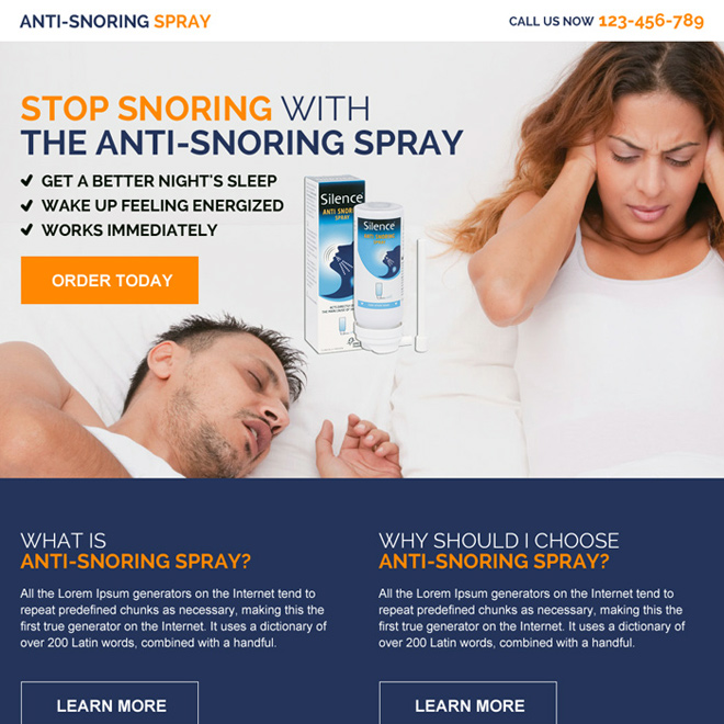 anti snoring spray product selling responsive landing page design Anti Snoring example