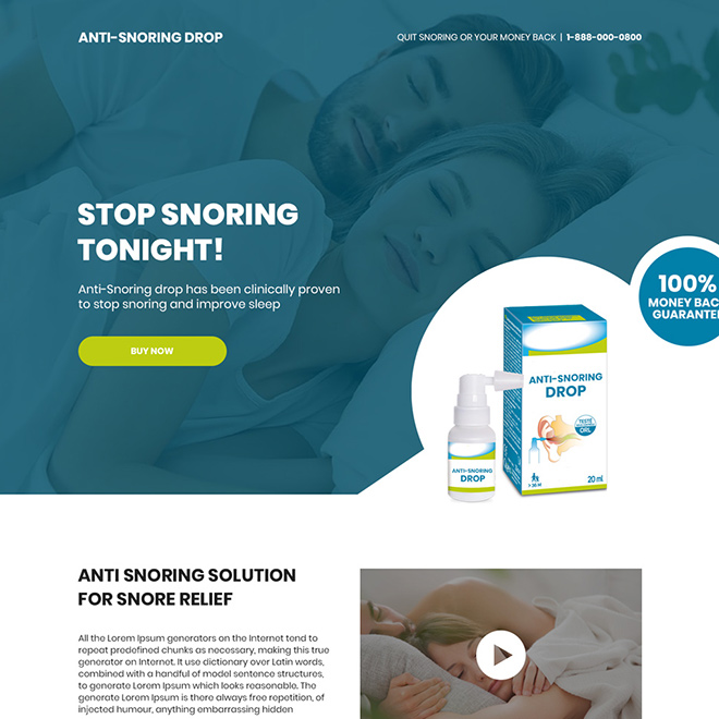 anti snoring drop responsive landing page design Anti Snoring example