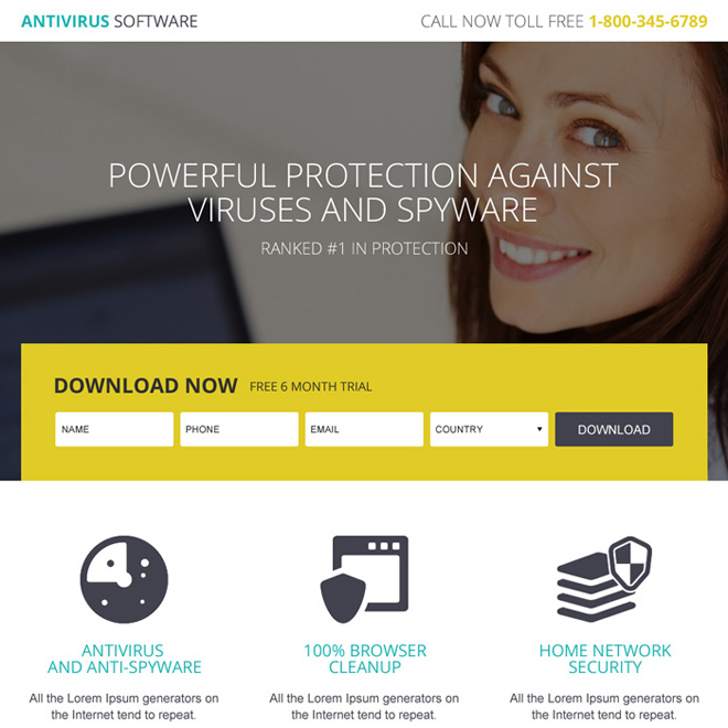 anti virus trial download lead generating landing page Software example