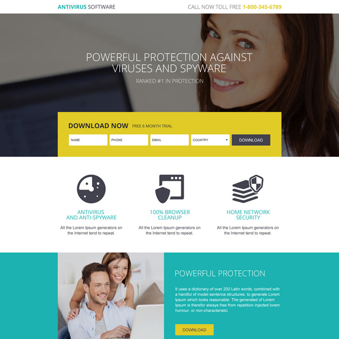 responsive anti virus software trial download landing page Software example
