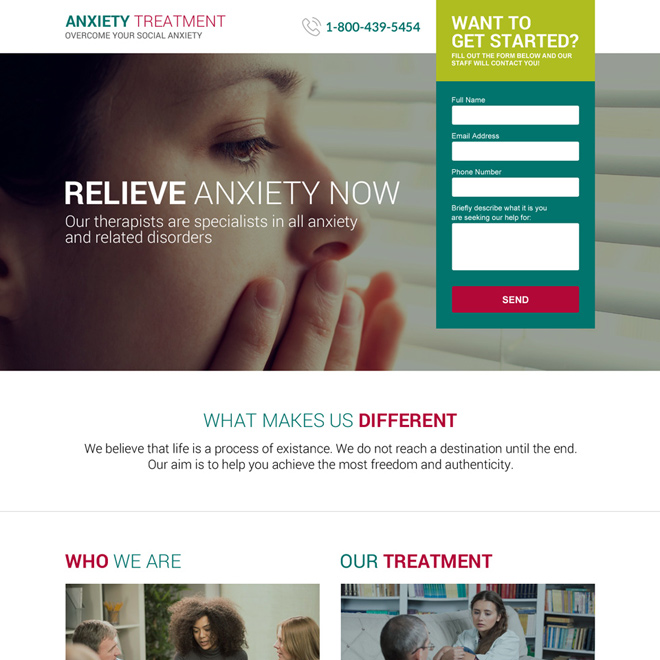anxiety treatment therapist responsive landing page design Medical example