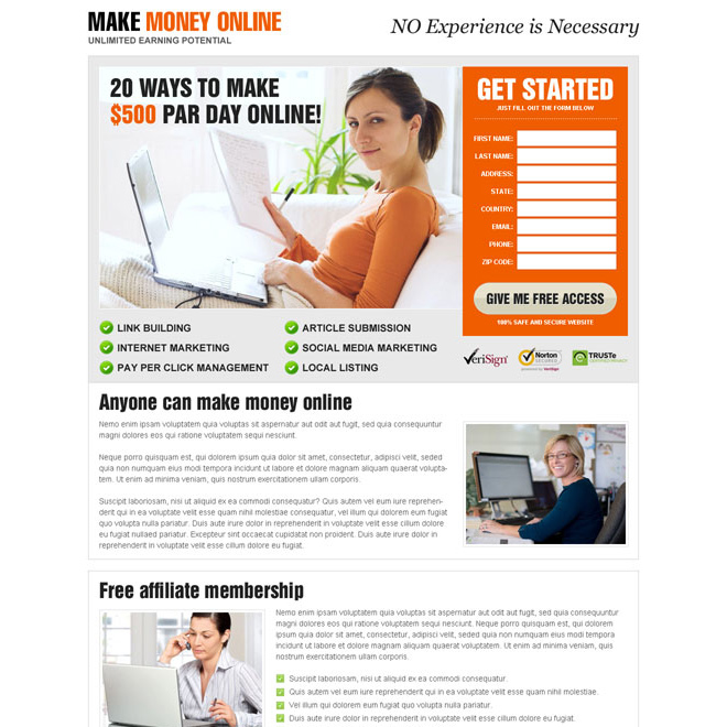 Money online landing page design templates to earn money for Making a blueprint online