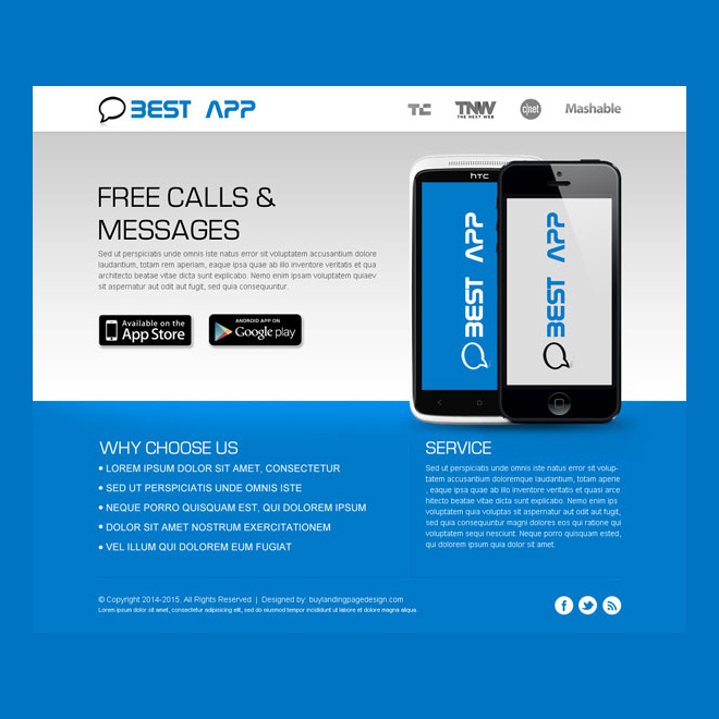 app landing page design template Web Application example