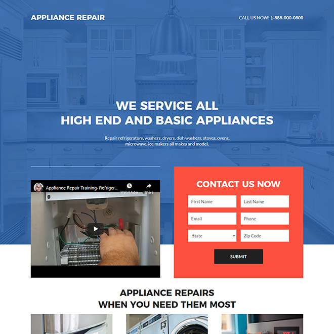 appliance repair service lead capture responsive landing page design Appliance Repair example