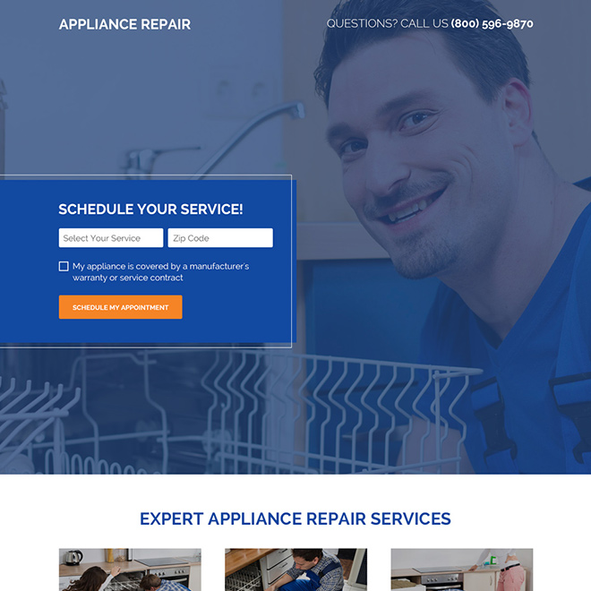 appliance repair schedule booking responsive landing page Appliance Repair example