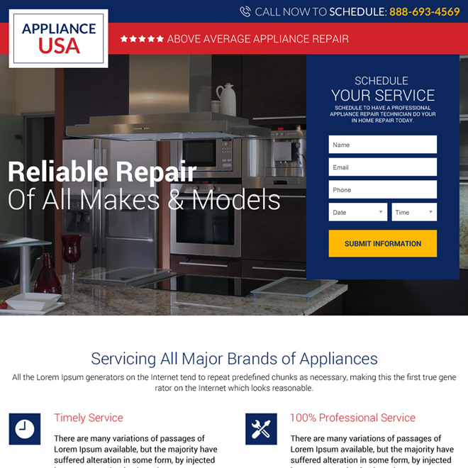 appliance repair service USA small lead capture landing page Appliance Repair example