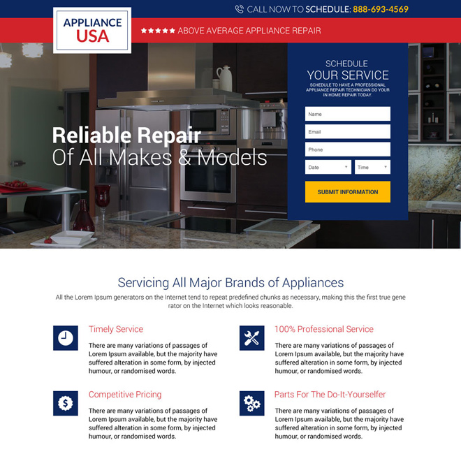 appliance repair service USA responsive landing page design Appliance Repair example