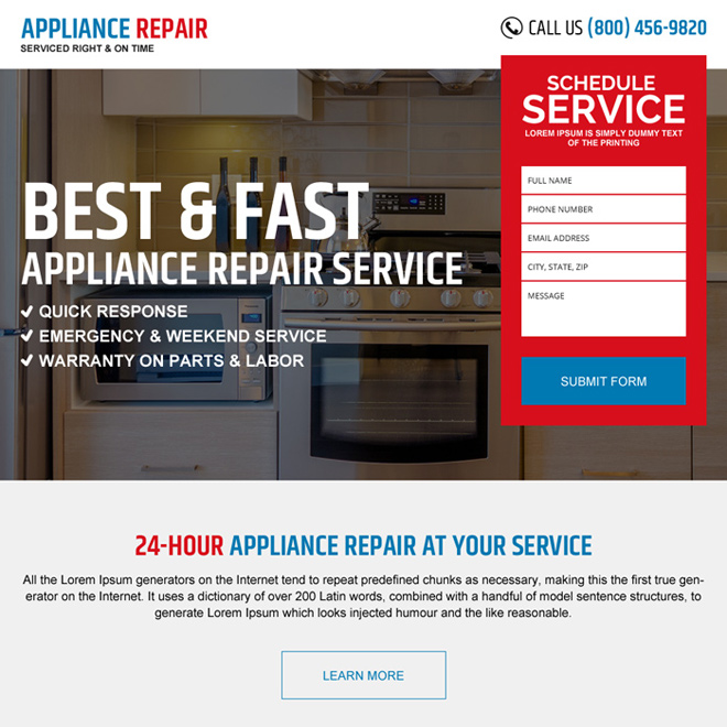 appliance repair service conversion boosting landing page design Appliance Repair example