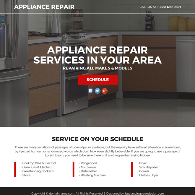 appliance repair service lead funnel landing page design Appliance Repair example