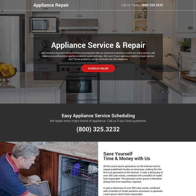 appliance service and repair online booking landing page design Appliance Repair example