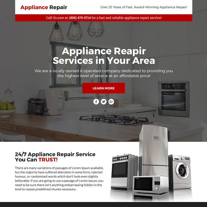appliance repair service responsive sales funnel page design Appliance Repair example
