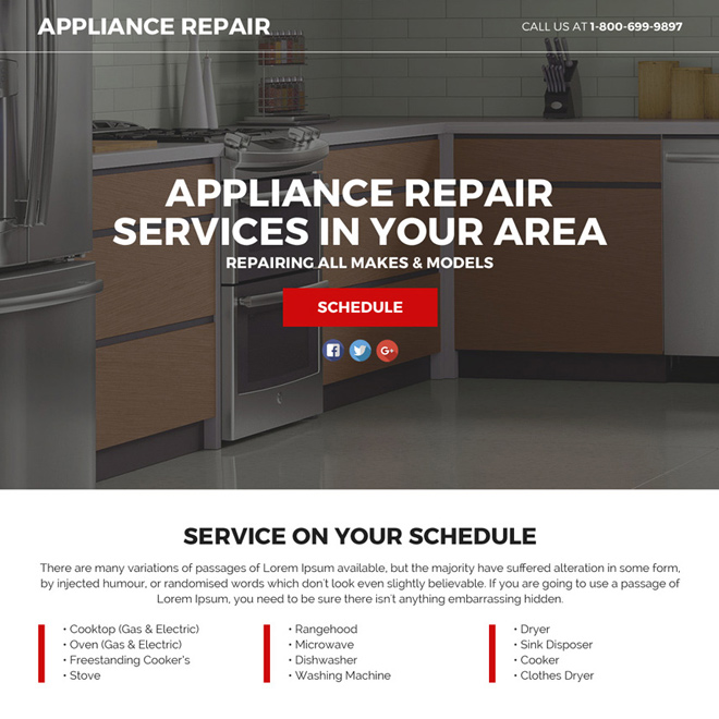 appliance repair service responsive funnel landing page Appliance repair example